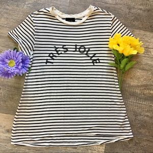 "Anthropologie W5 Striped ""Tres Jolie"" Graphic Tee"